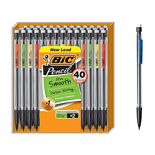 BIC Xtra-Smooth Mechanical Pencil, Medium Point (0.7 mm), 40-Count , Black
