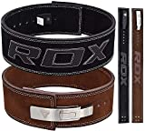 "RDX Powerlifting Belt for Weight Lifting - Approved by IPL and USPA - Lever Buckle Gym Training Leather Belt 10mm Thick 4"" Lumbar Back Support - Great for Strongman, Bodybuilding, Deadlifts & Squat"