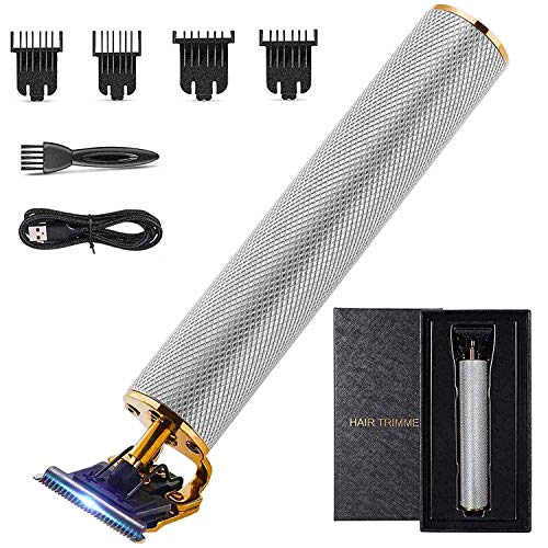 2020 New Cordless Gapped Hair Trimmer T Edger Clippers Professional Barber Liners Trimmer T-blade Close Cutting Wireless Clippers Silver