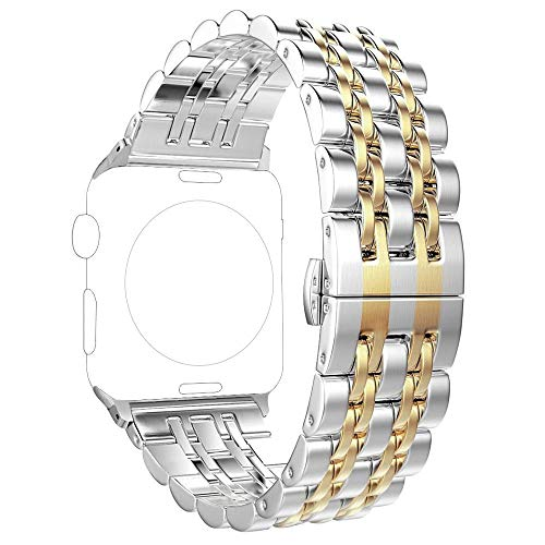PUGO TOP Bands Replacement for apple watch 44mm 42mm Series 6 5 4 3 SE, Stainless Steel Metal iWatch iPhone Watch Bands Series 3/2/1 2 Tones for Men Women (42mm/44mm, Gold)