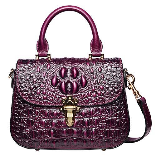 PIJUSHI Leather Crossbody Shoulder Bags for Women Crocodile Satchel Bags (99806 Violet)