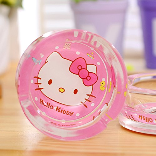 YOURNELO Woman's Cartoon Cat Glass Round Car Cigarette Ashtray Holder for Home