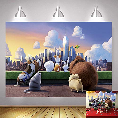 Cartoon The Secret Life of Pets Theme Photography Backdrop 5x3ft Boy Girl Kids Happy Birthday Party Photo Background Baby Shower Banner Cake Table Decoration Newborn Photobooth Props