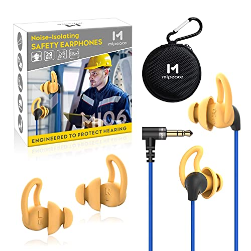Ear Plug Headphones for Work, Mipeace Custom-fit Work Earbuds Earphones-OSHA Approved Headphones for Safety Construction Industrial (Renewed)