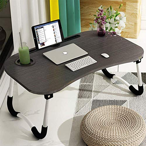 Laptop Bed Tray Table, Foldable Lap Desk Stand, Multifunction Lap Tablet with Cup Holder Perfect for Eating Breakfast, Reading Book, Working,Watching Movie on Bed/Couch/Sofa/Floor
