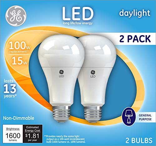 GE Lighting 21868 Light Bulb Daylight A21 LED 15-Watt (100-Watt Replacement), 1600-Lumen Medium Base, 2-Pack, 2 Count