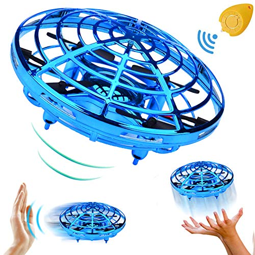 TURNMEON Hand Operated Mini Drone Holiday Birthday Gifts for Kids Boys Girls, Two Speed Auto-Avoid Obstacles 360°Rotating Flying Ball Toys Outdoor Indoor Games(Blue)