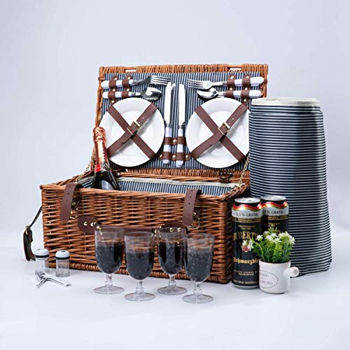 Arkmiido Wicker Picnic Basket Sets for 4,Willow Hamper Cutlery Service Kit with Insulated Cooler Compartment for Camping Outdoor Birthday Part   Picnic Basket Sets with Blanket for Family Couples