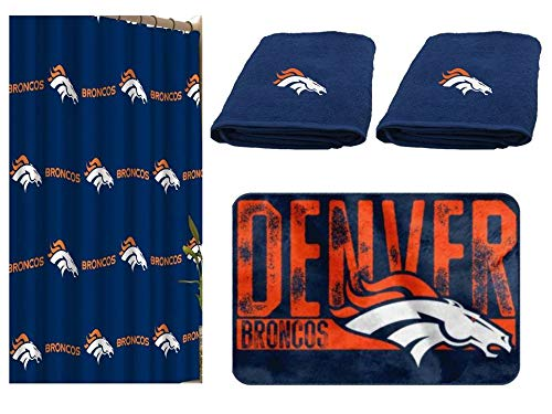 NFL Denver Broncos 4 pc Bath Set - Includes 1 Shower Curtain, 2 Bath Towels and 1 Bath Rug