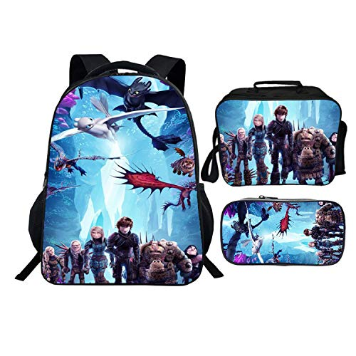 Kids How To Tra-In Your Dra-Gon Backpack 16inch Bookbag Schoolbag And Lunch Box Set For Boys Girls Toddler