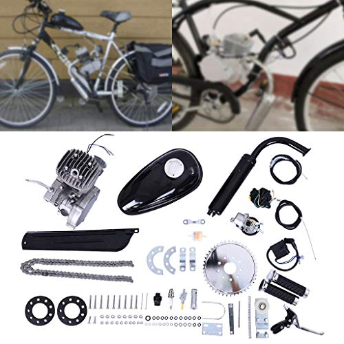 Full Set 80CC Bicycle Engine Kit, Motorized Accelerate Bike 2-Stroke, Petrol Gas Engine Kit, Super Fuel-efficient for 24',26' or 28' Bicycle
