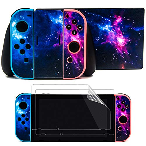 Taifond The Dazzling Galaxy Decals Stickers Set Faceplate Skin +2Pcs Screen Protector for Nintendo for Switch Console & Joy-Con Controller & Dock Protection Kit