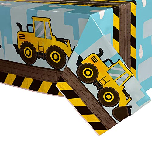 WERNNSAI Dump Truck Table Covers - 2 PCS 108''x 54'' Disposable Printed Plastic Tablecloth, Party Supplies for Kids Boys Birthday Construction Party Decorations