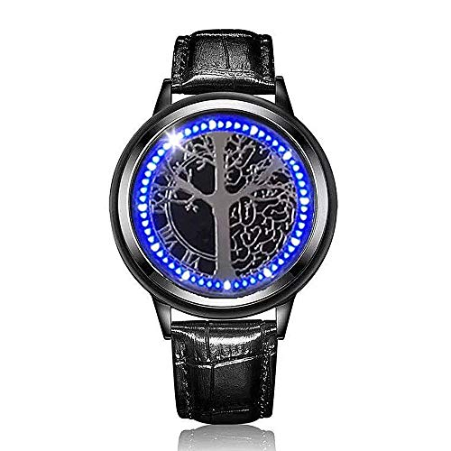 MINILUJIA LED Touch Screen Watch Unique Cool Watch with Soft Leather Strap Black (Wish Tree Black Dial)
