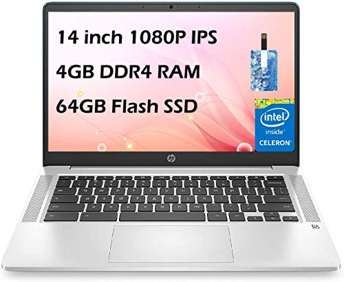 HP 14' Chromebook Laptop FHD IPS, Intel Celeron N4020 up to 2.6GHz, 4GB DDR4 RAM, 64GB eMMC, 802.11AC WiFi, Bluetooth 5, Type-C, Webcam, Chrome OS, with E.S 32GB USB Card Mouse and Sleeve