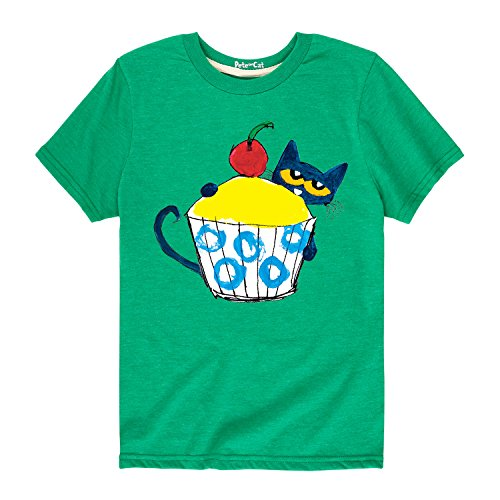 Pete The Cat with Big Cupcake - Toddler Short Sleeve Tee Kelly Green