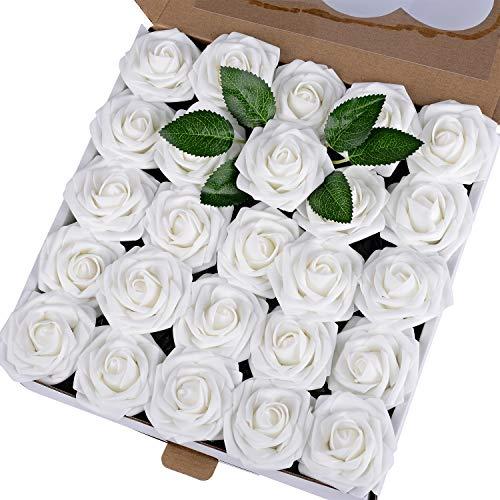 Breeze Talk Artificial Flowers 50pcs White Realistic Fake Roses w/Stem for DIY Wedding Bouquets Centerpieces Arrangements Party Baby Shower Home Decorations (50pcs White)