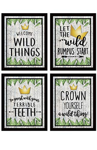 Katie Doodle Wild One Birthday Decorations Centerpiece Table Door Sign Pack for Boys Girl - Super Cute Where The Wild Things are Inspired Party Supplies Decorations | Includes 4 Signs [Unframed]