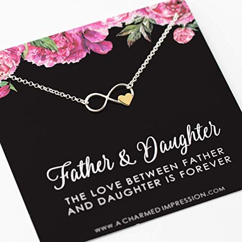 Father and Daughter Necklace ï Infinite Love ï 925 Sterling Silver ï Infinity with Gold Heart ï Birthday Memorial Remembrance Wedding ï Gift for Daughter from Dad