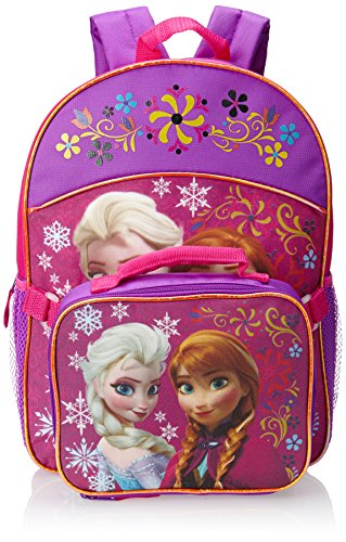 Fast Forward Little Girls' Anna and Elsa Backpack with Lunch Set, Pink, One Size