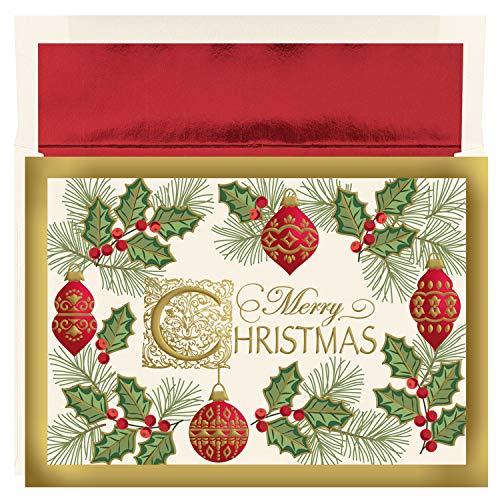 Masterpiece Studios Holiday Collection 16-Count Boxed Embossed Christmas Cards with Foil-Lined Envelopes, 7.8' x 5.6', Antique Christmas (898700)