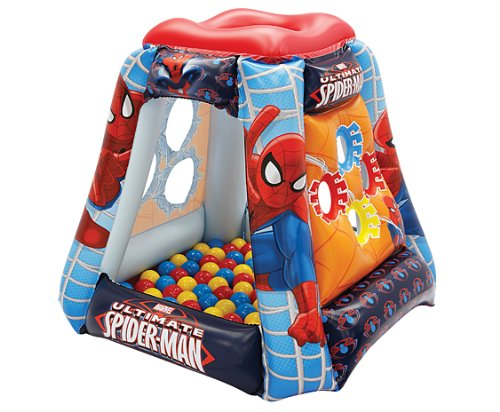 Ultimate Spider-Man Spider Power Ball Pit, 1 Inflatable & 20 Sof-Flex Balls, Red/Blue, 37'W x 37'D x 34'H