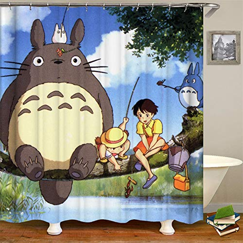 My Neighbor Totoro, 3D Digital Printed Polyester Shower Curtain, Home Decoration Curtain, Sanitary partition Curtain, 71 × 71, 12 Holes, Gift Hook