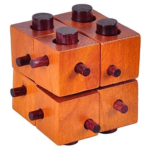 AHYUAN Handmade Wooden Eight Squares Burr Puzzles Brain Teasers IQ Toys Intellectual Magic 3D Game Cube Puzzles for Adults/Kids