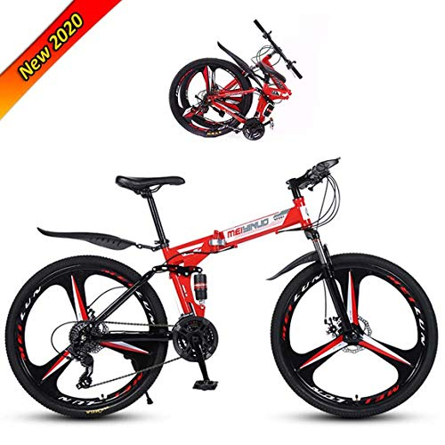 LLLOE Folding Mountain Bicycle 26in Outdoor Bike 21/24/27 Speed Full Suspension MTB Bikes Sports Male and Female Adult Commuter Anti-Slip Bicycles