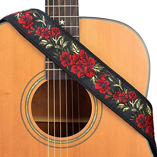 CLOUDMUSIC Guitar Strap Red Rose Pattern Jacquard Woven With Black Leather Ends For Acoustic Electric Bass (Red Roses)