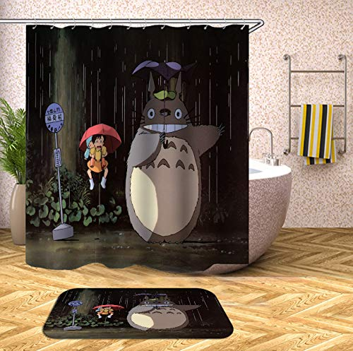 DiShang Fabric Shower Curtain,Comic Totoro Cute Grey Polyester Waterproof Cloth, Print Decorative Bathroom Curtains Include Hooks Set (78〃w by 72〃L)
