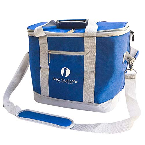 Red Suricata Collapsible Cooler Bag - Large Insulated Soft Cooler Bag for 50 Cans - Keeps Cool for 6 Hours - 30L Portable Cooler Bags Insulated – Soft Sided Travel Cooler (Heathered Navy Blue/Grey)