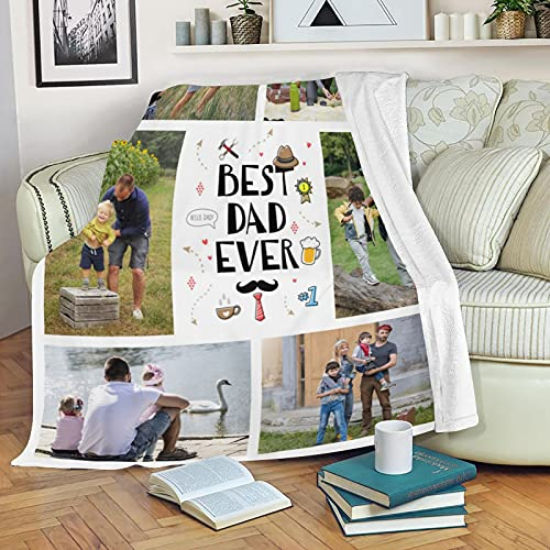 Best Dad Ever Blanket - Custom Collage Blanket, Personalized Blanket with Photo for Father's Day Birthsay Gift Customized Blanket with 6 Pictures (60x80 inches)