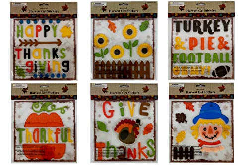 Thanksgiving Fall Gel Sticker Window Clings Decoration Bundle with Pumpkins Turkeys Flowers