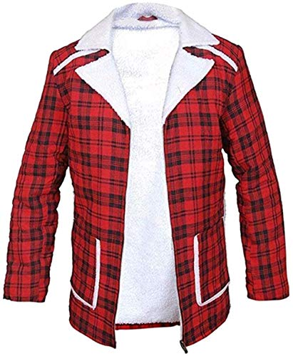 Flannel Checkered Jacket Red Coat Ryan Reynolds Deadpool Wilson Flannel Shearling Coat (Medium)