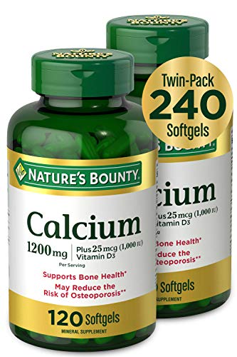 Calcium & Vitamin D by Nature's Bounty, Immune Support & Bone Health, 1200mg Calcium & 1000IU Vitamin D3, 120 Softgels (2-Pack)