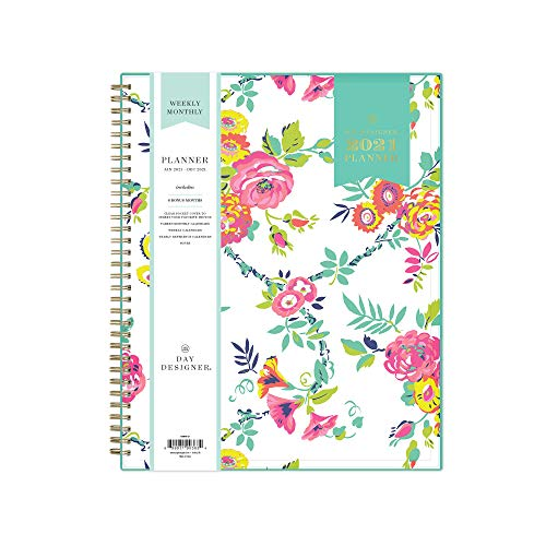 Day Designer for Blue Sky 2021 Weekly & Monthly Planner, Flexible Cover, Twin-Wire Binding, 8.5' x 11', Peyton White (103618-21)