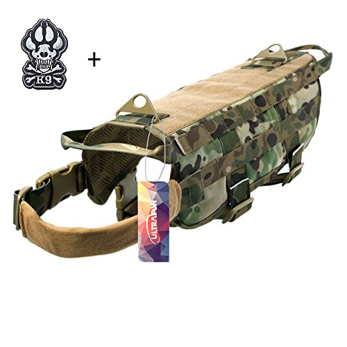 Ultrafun Tactical Dog Molle Vest Military Training Harness with Handle Outdoor Pet Supplies (Camo, XL)