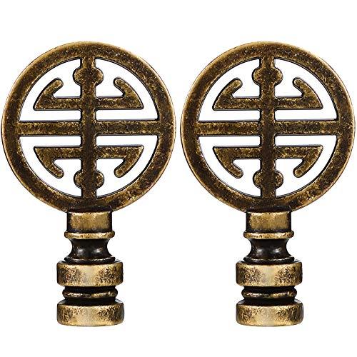 2 Pieces Oriental Happiness Symbol Lamp Finial Asian Lamp Finial Cap Knob Lamp Knob Top Antique Brass Asian Final for Lamp Shade Lamp Decoration