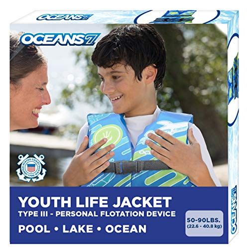 New & Improved Oceans7 US Coast Guard Approved, Youth Life Jacket, Flex-Form Chest, Open-Sided Design, Type III Vest, PFD, Personal Flotation Device, Blue/White