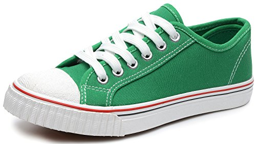 Odema Women Lace Up Canvas Shoes Preppy Style Flat Fashion Sneakers Green SizeUS8