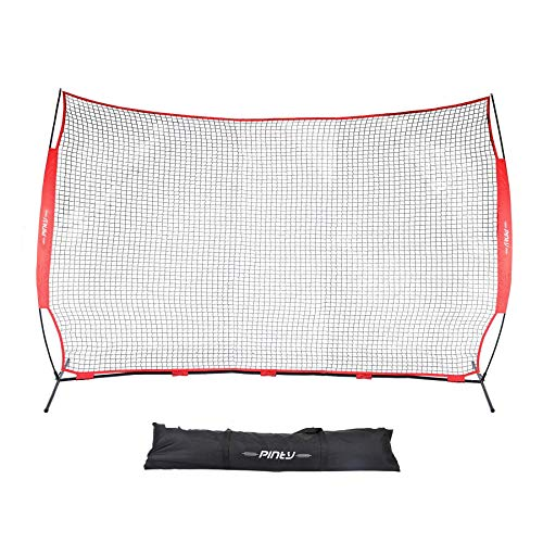 Pinty Collapsible Barricade Backstop Net 12x9 ft, Net for Lacrosse, Baseball, Basketball, Soccer, Field Hockey and Softball Practice Barrier, Portable Hitting Net for Backyard, Park, with Carry Bag