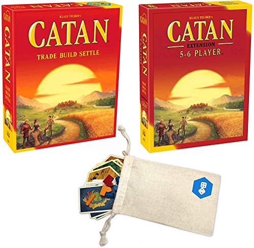 Catan 5th Edition Board Game with Catan 5-6 Player Extension Board Game Bundle with Convenient Drawstring Storage Bag