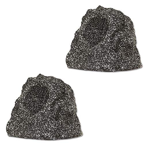 Theater Solutions by Goldwood B41GG Wireless Rechargeable Bluetooth Outdoor Rock Speaker System - Granite Gray, Set of 2, 120 Watts