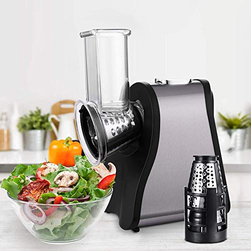 Professional Salad Maker Electric Slicer/Shredder with One-Touch Control and 4 Free Attachments for fruits, vegetables, and cheeses (US Stock)