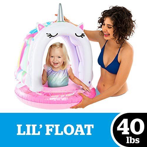 BigMouth Inc. Lil' Unicorn Float with Canopy – for Ages 1-3 Years (Up to 40 lbs), Ultra-Durable Dual-Chamber 3-Point Harness w/ Child Safety Valves & UPF 50+ Protection Baby Pool Float