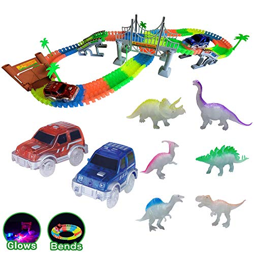 Dinosaur Adventures Glow in the Dark Cars Dinos & Race Tracks | 168 Track Pieces 6 Dinos 2 Cars | Jurassic World Create a Road Educational STEM Dino Toy Set for Birthday Gifts for 3+ year old Boys