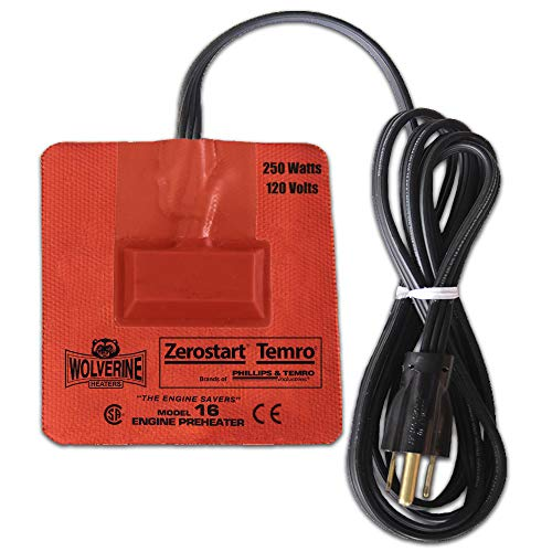 Zerostart 3400121 Silicone Pad Heater Engine Oil, Transmission Fluid, Reservoir and Hydraulic Fluid Heater, 3½' (9.5 cm) x 4½' (11 cm) | CSA Approved | 120 Volts | 250 Watts