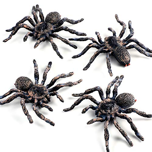 4 Pieces Realistic Spider Figures Giant Spider Action Model Plastic Animal Spider Figures Lifelike Educational Learning for Boys, Halloween Prank Props Party Supplies