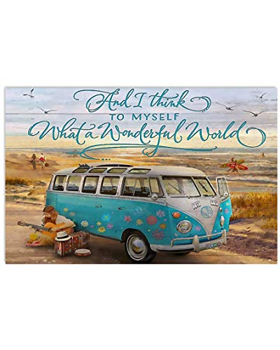 ANM 4Love Hippie Poster and I Think to Myself What a Wonderful World Van Guitar Camping Hanging Wall Art for Living Room Decorations Painting Prints House Decor Vintage Poster No Frame